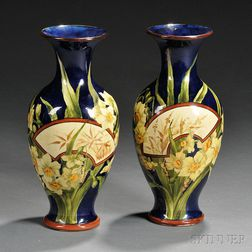 Pair of Doulton Lambeth Faience Aesthetic-style Vases