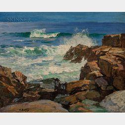 Edward Henry Potthast (American, 1857-1927)      Rocks and Surf