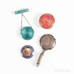 Three Vintage Enameled Compacts and a Hand Mirror Compact and Lipstick