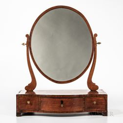 English Provincial Inlaid Fruitwood Serpentine-front Shaving Mirror
