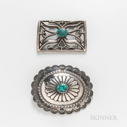 Two Navajo Silver and Turquoise Belt Buckles
