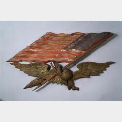 Carved, Painted, and Gilded Pine American Eagle and Flag