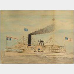 American School, 19th Century  Portrait of the Steamship City of Catskill