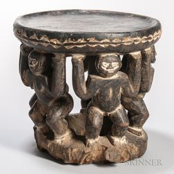 Cameroon Carved Wood Figural Stool