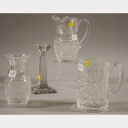 Four Colorless Cut Glass Items