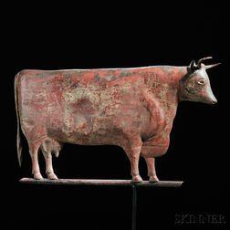 Molded Copper Red-painted Cow Weathervane