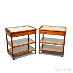 Pair of Beacon Hill Collection Hardwood Marble-top Stands