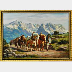 Hans Nickel (German, 1916-1986)      Heavy Wagon in Werdenfelser Land