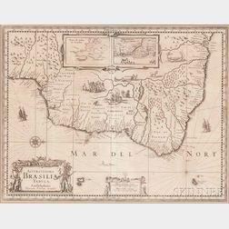 Brazil. Henricus Hondius (1615-1677) Accuratissima Brasiliae Tabula.