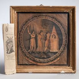 Framed George Washington Memorial and Five Washington Benevolent Society Parchment Ribbons