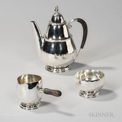 Three-piece Georg Jensen Sterling Silver Coffee Service