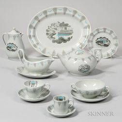 """Extensive Assembled Wedgwood Eric Ravilious Design """"Travel"""" Pattern Luncheon Service"""