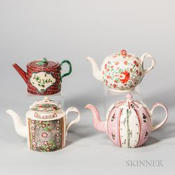 Four Early Creamware Teapots and Covers