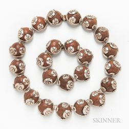 Mexican Copper and Sterling Silver Necklace and Bracelet