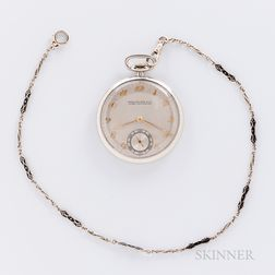 Patek Philippe 18kt White Gold Open-face Watch and 14kt Gold Chain