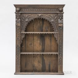 Continental Renaissance-style Carved Oak Hanging Wall Cabinet