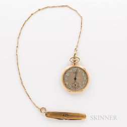 Gruen Watch Co. 14kt Gold Watch with Chain and Penknife