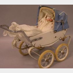 Metal Baby Carriage and German Bisque Baby Doll