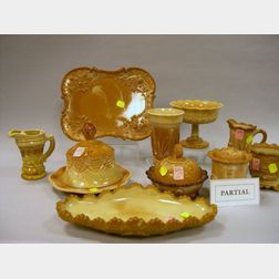 Collection of Eighteen Pieces of Pressed Chocolate Glass Tableware.