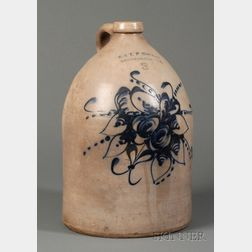 Three-gallon Stoneware Jug with Cobalt Blue Floral Decoration