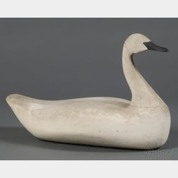Carved and Painted Wooden Swan Decoy