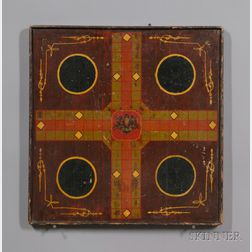 Polychrome Paint-decorated Wooden Game Board