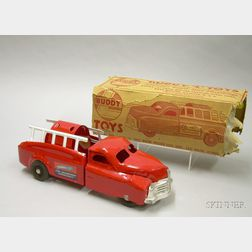 """Boxed Buddy """"L"""" Painted Steel """"Fire Department Emergency"""" Truck"""