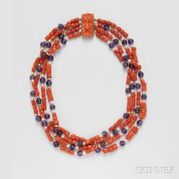 Coral, Amethyst, and Cultured Pearl Necklace