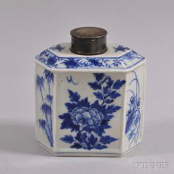 Blue and White Porcelain Tea Caddy with Silver Lid