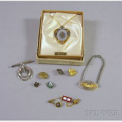 Seven Mid-20th Century U.S. Military Pins and Jewelry Items with Three Fraternal and Typing Pins.