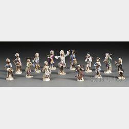 Thirteen Assembled Meissen and Meissen-type Porcelain Monkey Band Figures