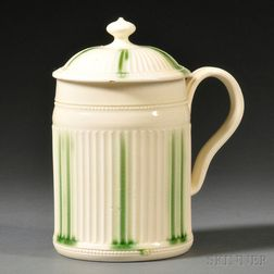 Leeds Cream-colored Earthenware Tankard and Cover