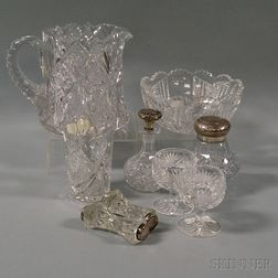 Nine Cut Glass Table Items
