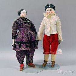 Two Black-haired China Head Dolls