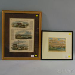 Two Hand-colored Framed Prints with Boston and Harvard Scenes