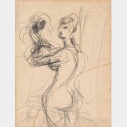 Sigmund Joseph Menkes (American, 1896-1986)      Standing Model Holding Flowers