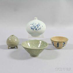 Four Glazed Ceramic Items