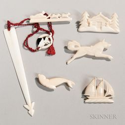 Six Carved Whale Ivory Items