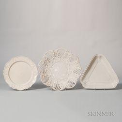 Three Staffordshire White Salt-glazed Stoneware Dishes