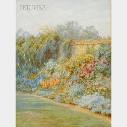 Helen Allingham (British, 1848-1926)      In a Surrey Garden