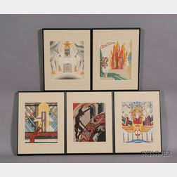 American School, 20th Century      Lot of Five Scenes from Dante Alighieri's The Divine Comedy