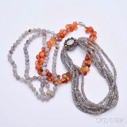 Three Hardstone Bead Necklaces