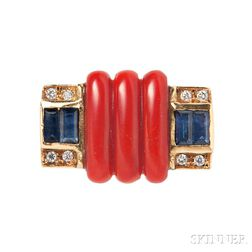 18kt Gold and Coral Ring