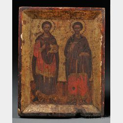 Greek Icon depicting Saints Cosmos and Damian