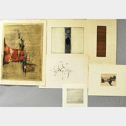 Six Unframed 20th Century Prints:      Johnny Friedlaender (German, 1912-1992), Untitled