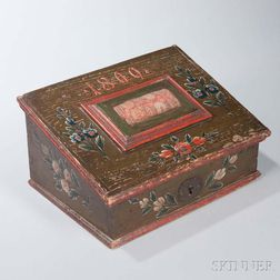 """Paint-decorated Slant-lid Sewing Box with Pincushion """"1809,"""""""