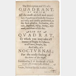 Hewlett, John (fl. circa 1665) The Description and Use of a Quadrant.