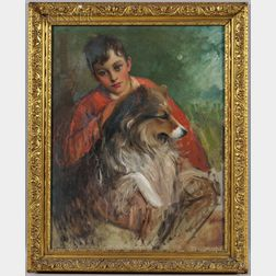 Henry Jones Thaddeus (Irish, 1860-1929)      Freddy Thaddeus with Ra  , the Family Dog