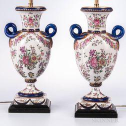 Pair of Samson Floral-decorated Porcelain Urns