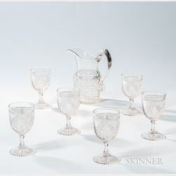 Ribbed Palm Pressed Glass Pitcher and Six Water Glasses